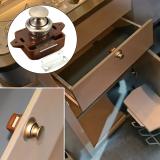 Push Button Drawer Cupboard Door Latch Lock Caravan Motorhome Cabinet Brown Knob