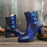 SOCOFY Women Retro Handmade Flower Genuine Leather Chunky Heel Ankle Short Boots