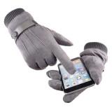 Men's Winter Suede Gloves Warm Velvet Thick Touch Screen Finger Glove