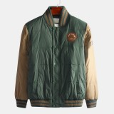 Mens Winter Thickened Patchwork Stand Collar Buttons Single Breasted Casual Jacket