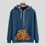 Mens Hooded African Printing Drawstring Casual Sweatshirt