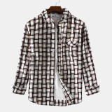 Mens Cotton Fashion Plaid Pocket Casual Long Sleeve Lapel Shirts