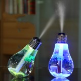 Loskii LED Bulb Shape Humidifier Portable for Travel Home 7 Color LED Night Light Air Humidifier USB Charging