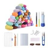 50 Color DIY Wool Felt Kit Needles Tool Set Handmade Needle Felting Mat Starter Fabric Sewing Kit w/ Felting Handle Clover