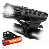 Xmund XD-BL12 T6 Bike Light Set 650LM Ultra Bright IPX4 1300mAh 4 Modes USB Rechargeable Bike Front Light 5 LED Tail Light