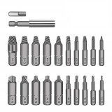 Drillpro 22pcs Damaged Screw Extractor Set for Broken Screw HSS Broken Bolt Extractor Screw Remover Kits