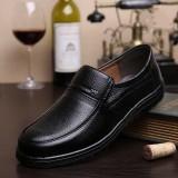 Men Retro Pure Color Slip Resistant Casual Business Leather Oxfords