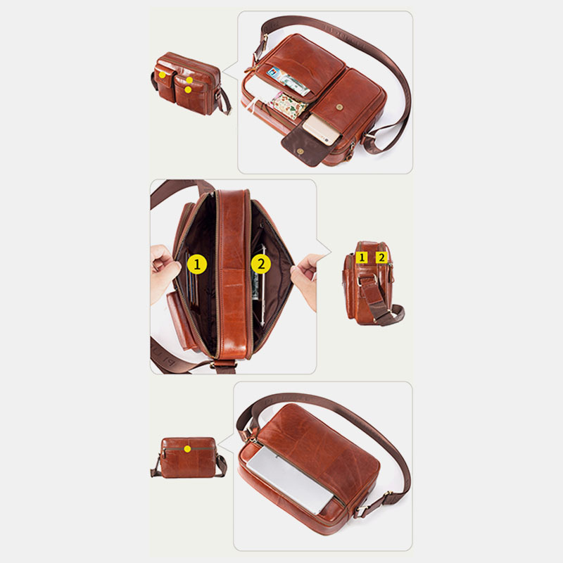 Men Genuine Leather Large Capacity Crossbody Bag Business Bag For Outdoor Business