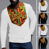 Men Long Sleeve Dashiki African Floral Shirts V Neck Long Sleeve Blouse Tops Tees