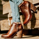 Large Size Women Retro Solid Color High Chunky Heel Motorcycle Ankle Boots