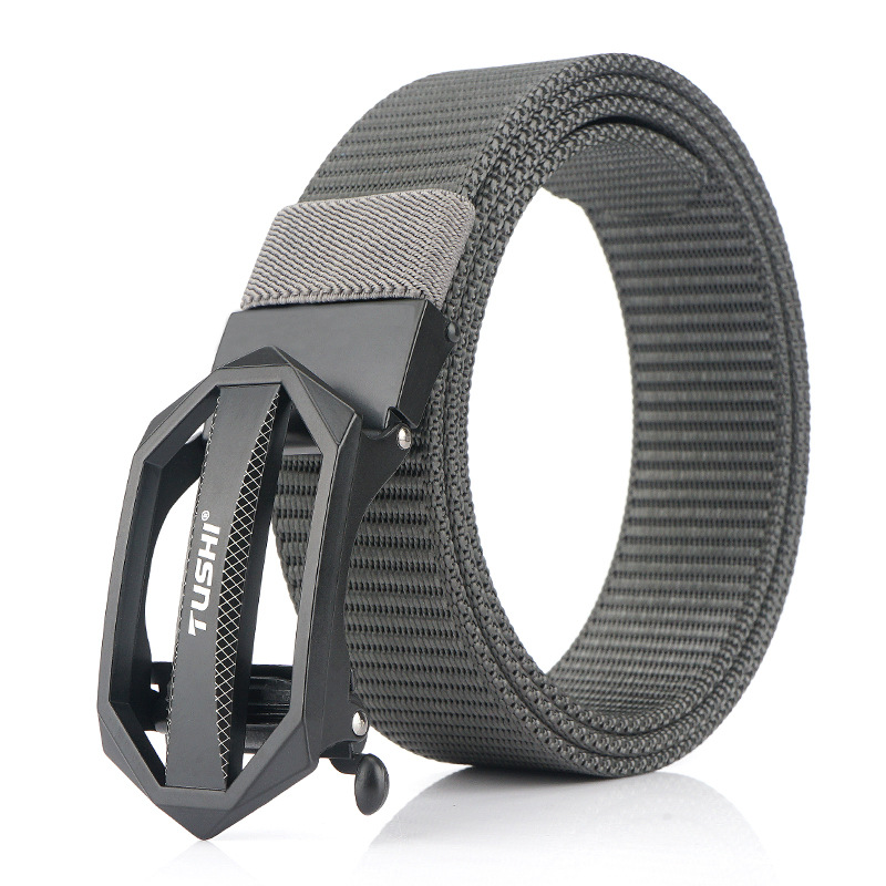 TUSHI 125cm x 3.4cm Zinc Alloy Buckle Punch Free Nylon Belts Men Tactical Belt Casual Belts