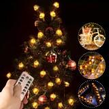 2M 3M 4M Acorn Pine Cones LED String Light Fairy Lamp with Remote Control Patio Yard Garden Christmas Decor