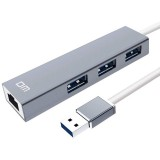 DM CHB012 3 ports USB3.0 Hub 5Gbps 100M Network Port RJ45 Adapter USB Hub for Mobile Phones Tablets