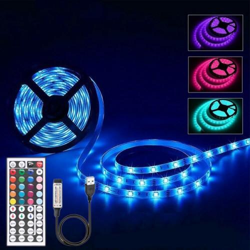 1M 2M 3M 4M 5M Non-waterproof DC5V USB 3528 SMD RGB LED Strip Light String Tape+44 Keys IR Remote Control