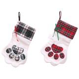 Loskii Christmas Socks Red Blue Plaid Dogs Paw Stockings Sacks Hanging New Year Kids Gifts Christmas Party Decorations