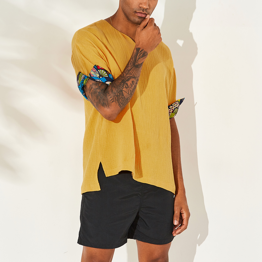 Mens Vintage Chinese Style Solid Color V-neck Half Sleeve Loose Casual T-Shirts