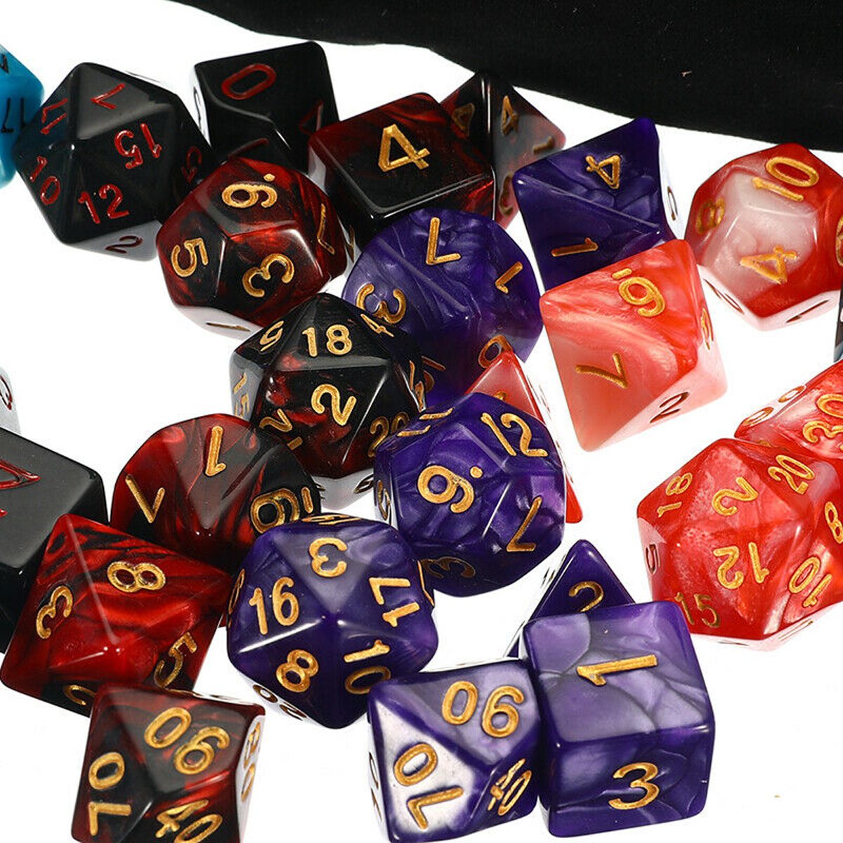 105 Pcs Dice Set Polyhedral Dices 7 Color Role Playing Table Game With Cloth Game Multi-sied Dice