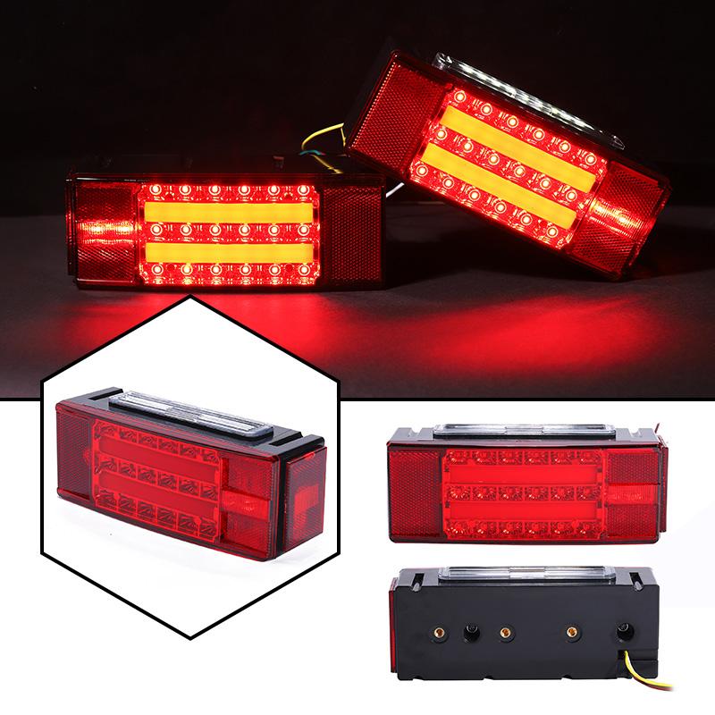 2pcs 12V 16LED Red White Brake Tail Lights Truck Trailer Boat Stop Reverse Lamps