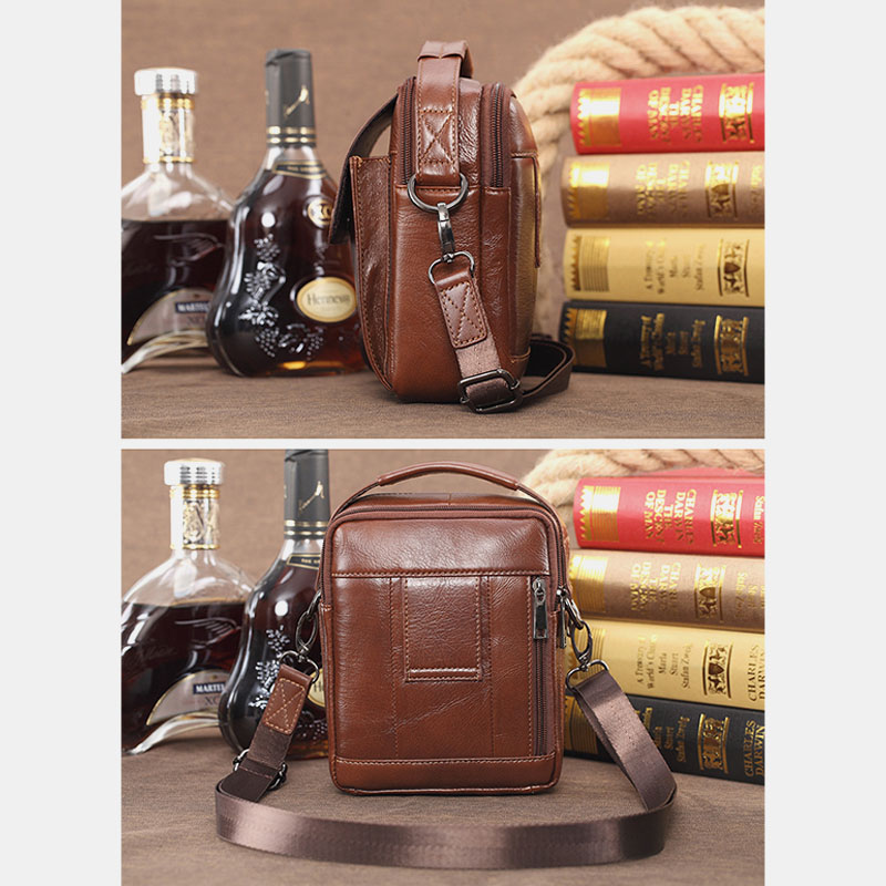 Men Genuine Leather Handbag Shoulder Bag Crossbody Bag Phone Bag Waist Bag