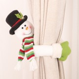 Loskii Christmas Decorations Small Creative Curtain Buckle Cartoon Old Man Snowman Elk Curtain Decorations