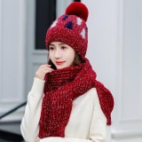 Thickening Christmas Wool Hat Wool Knit Hat Scarf Set Beanie