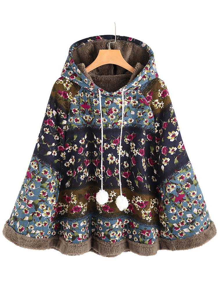 Vintage Women Floral Print Loose Long Sleeve Hoodie Coats