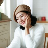 Women's Beret Wool Hat Warm Wedding Hat With Flower