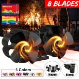 8 Blades Stove Fan Wall-mounted Twin Stove Fan Magnetic Heat Power Fireplace Fan
