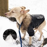 Nsmsan KLN-1725 Pet Fur Collar Leather Coats Waterproof Pet Dog Winter Warm Coats Puppy Cold Weather Clothes
