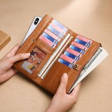 Men Genuine Leather RFID Blocking Vinatge Long Wallet Money Purse Phone Clutches Bag