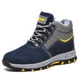 Men Steel Toe Warm Plush Lining Puncture Proof Safety Work Ankle Boots