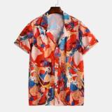 Mens Abstract Graffiti Hit Color Printed Turn Down Collar Short Sleeve Loose Shirts