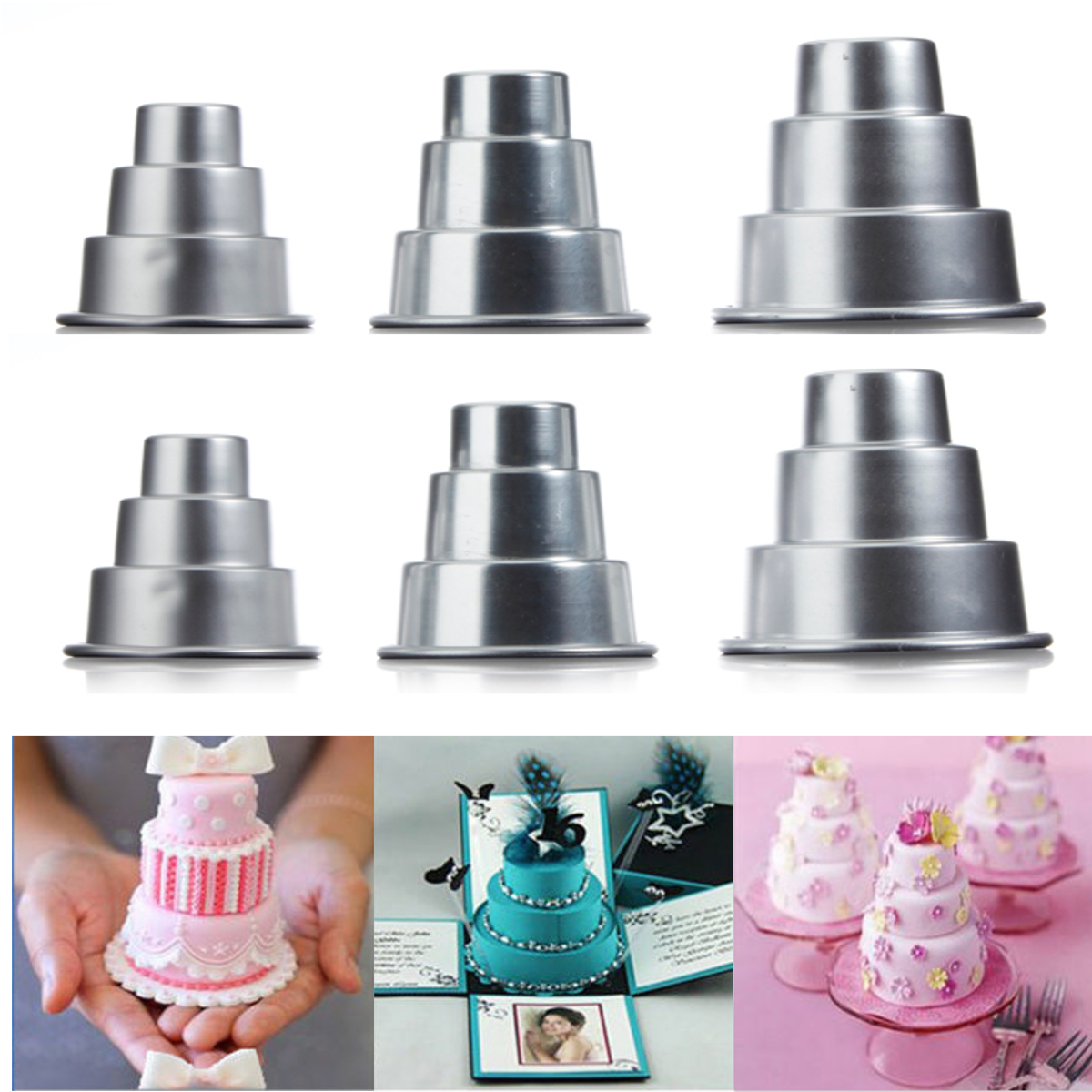6x S/M/L Mini 3-Tier Cupcake Pudding Chocolate Cake Baking Mold Baking Pan Mould