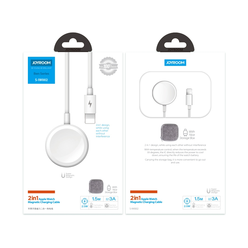 JOYROOM S-IW002 Ben Series 2 in 1 1.5m 3A Magnetic Charge Cable for Apple Watch (White)