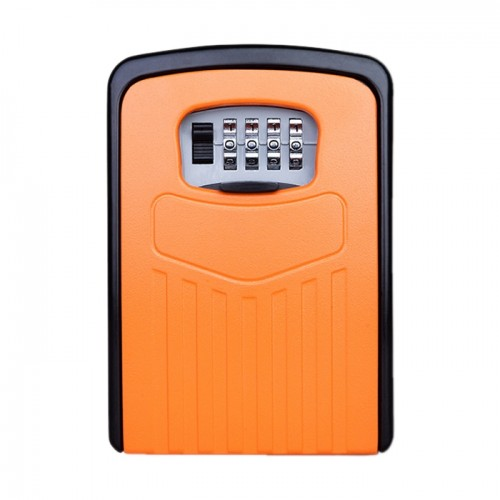 Large Password Lock Metal Storage Box Villa Security Box Wall Cabinet Safety Box (Orange)