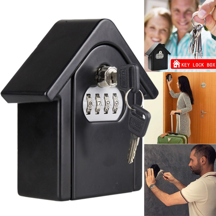 Hut Shape Password Lock Storage Box Security Box Wall Cabinet Safety Box (Black)