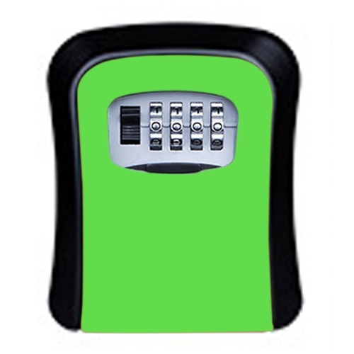 Password Lock Metal Storage Box Door Security Box Wall Cabinet Key Safety Box (Green)