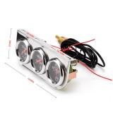 52mm 12V Universal Car Modified Triple Meter 3 in 1 Gauge Oil Press Gauge + Water Temperature Gauge + Ammeter, with Sensor