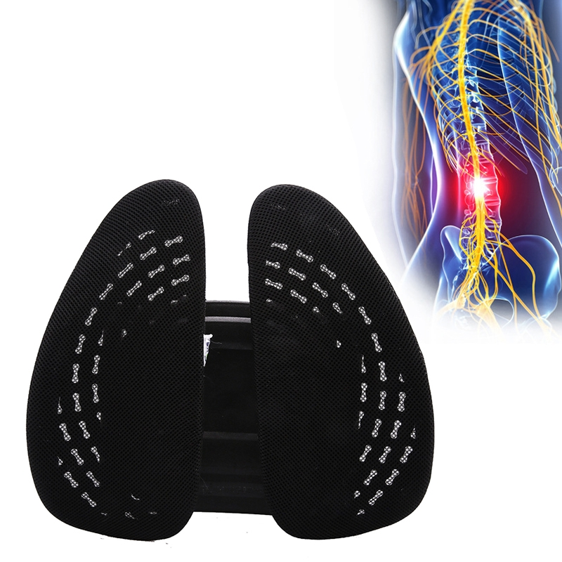 Car Lumbar Support Office Seat Belt Backrest Double Cushion Car Home Massage Lumbar Ice Silk Pillow (Black)