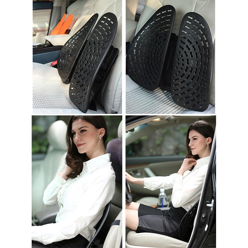 Car Lumbar Support Office Seat Belt Backrest Double Cushion Car Home Massage Lumbar Ice Silk Pillow (Orange)