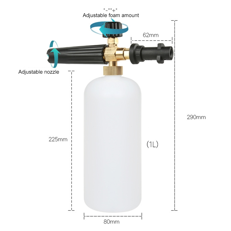 High Pressure Car Wash Foam Gun Soap Foamer Generator Water Sprayer Gun, Outer Wire: 14x1.5