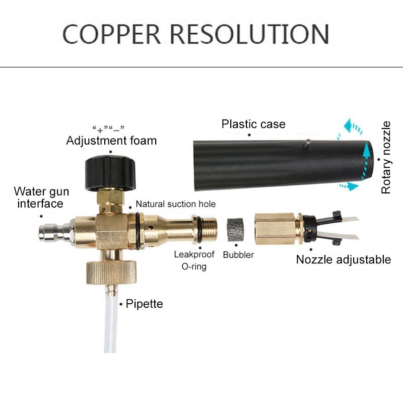 High Pressure Car Wash Foam Gun Soap Foamer Generator Water Sprayer Gun, Outer Wire: 22x1.5, Inner Hole: 15