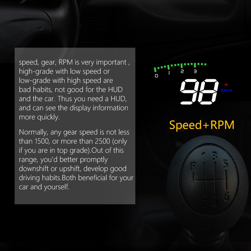 A900 OBD2 3.5 inch Vehicle-mounted Head Up Display Security System, Support Car Speed / Engine Revolving Speed Display / Water Temperature / Voltage / Driving Mileage