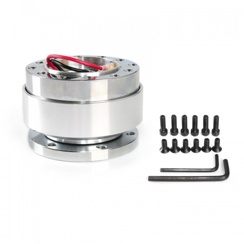 Universal 60mm Car Steering Wheel Quick Release HUB Racing Adapter Snap Off Boss Kit (Silver)