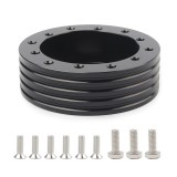 Car Hub for 6-Hole to 3-Hole Steering Wheel Adapter Boss Kit Steering Wheel Spacer Bolts (Black)