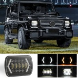 7 inch H4 DC 9V-30V 3000LM 6000K 30W IP67 8LED Lamp Beads Car Square Shape LED Headlight Lamps for Jeep Wrangler