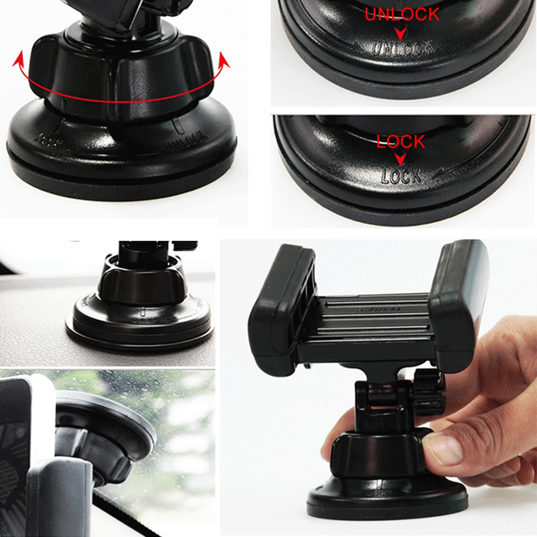 3R-1005 Universal Car Suction Cup Mount Bracket Phone Holder for 68-80mm Mobile Phone