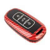 Carbon Fiber Texture Car Key Protective Cover for Geely Emgrand (Red)