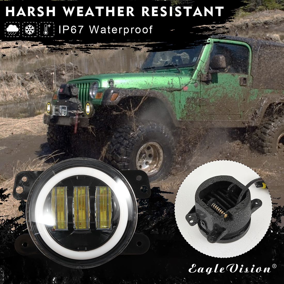 2 PCS IP67 Waterproof 30W 6500-7000K 2300LM 4 inch CREE 6-LED Lamp Driving Fog Lights with Angel Eyes for Jeep Wrangler (Gold Light)