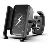 Motorcycle Aluminum Alloy Mobile Phone Bracket with Hook, Suitable for 4-6.5 inch Phones (Black)